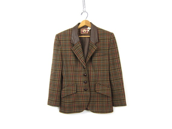 Vintage Brown Wool Fitted Blazer Tweed Jacket Leather Button Up Blazer Preppy Fall Coat 1990s Modern Equestrian Prep Jacket Womens 4 Small
