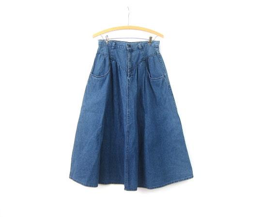 1980s Jean Skirt Long high waisted Blue Denim Skirt Boho Western Hippie Vintage skirt Cowgirl Denim Women's Size Medium