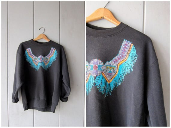 80s Southwest Sweatshirt Black Tribal Pullover Grunge 1980s Native American Southwestern Vintage Sweatshirt Hipster Boho Womens Large