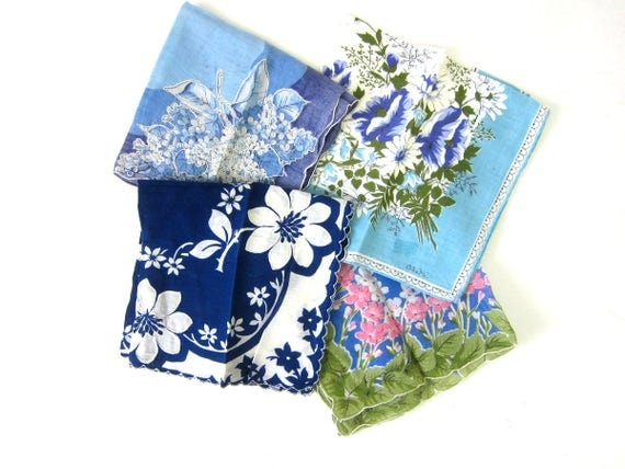 Vintage Hankies 4 Ladies Handkerchiefs Vintage Blue and White floral Handkerchief in Flowers Lot of Four Retro women's gift