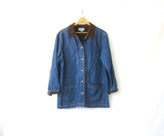 Vintage 90s Denim Field Jacket Jean Jacket Loose Fit shirt coat Lightweight Button Up Spring Coat Womens size Large