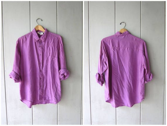 Purple Silk Blouse 90s Vintage Button Up Silk Shirt 80s Basic Lilac Minimal Button Down Silk Shirt Loose Fit Modern Top Womens Medium