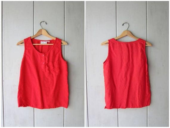 80s Basic Red Tank Top Rayon Tank with Henley Buttons Vintage Tshirt Plain Muscle Tee Chest Pocket Hipster Vintage Womens Small