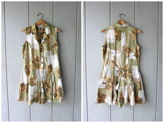 Vintage Floral Romper Cotton & Linen Culottes Dress Minimal Sun Dress Playsuit Flower Print Mini Sundress Vintage 90s Preppy Womens Medium