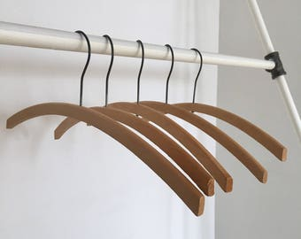 1940s Vintage Curved Round Wood Hangers from Los Angeles Costume Warehouse - Set of 5 - Additional quantities available
