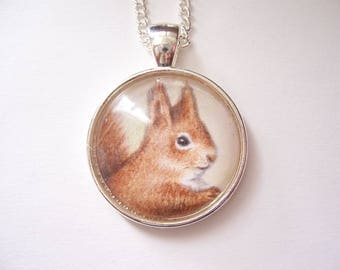 Red Squirrel Pendant Necklace, Wearable art, Red squirrel Nature Wildlife jewelry,original animal drawing, miniature art silver jewelry