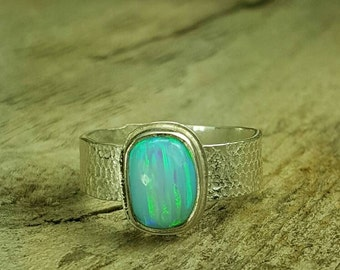 Lab opal, sterling silver textured, band, dinner ring, women's ring, ladies ring, size 7.5, Ready to ship