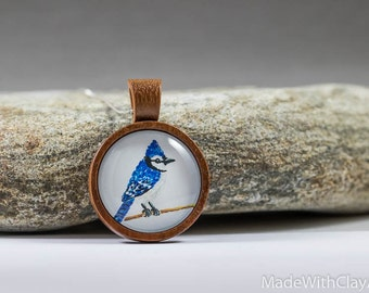 Miniature Painting Blue Jay Bird Sterling Silver Necklace - Mini Tiny Animal Songbird Handmade Jewelry - Wood Glass Pendant MADE TO ORDER