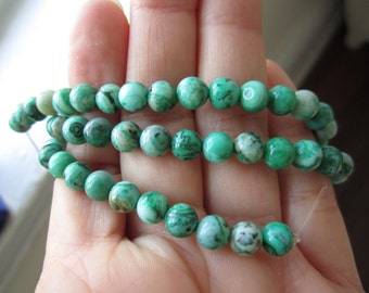 Crazy Lace Agate, Green 6mm Round Beads