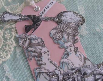 Marie Antoinette Gift,  Vintage Tea Cup, Assemblage Paper Tag, Mixed Media Hang Tag, Dessert Art,  Victorian Art Tag