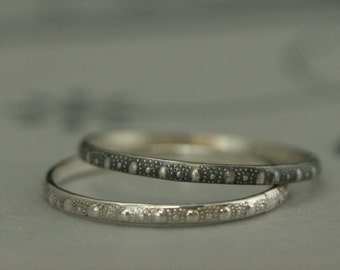 Tiny Urchin Band--Sterling Silver Stacking Ring--Silver Stack Ring--Thin Silver Band--Thin Patterned Band--Dot Pattern Band--Thin Stacker