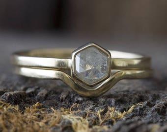 Natural Grey Rose Cut Hexagon Diamond Ring + Wedding Band