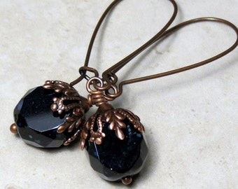 Black Earrings, Black Czech Glass Dangle Drop Earrings, Black Bead Earrings, Antique Copper Earrings, Unique Earrings, Unique Jewelry Gift