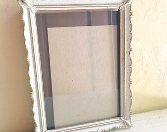 5x7 Gold and White Enamel Metal Picture Frame Filigree Corners