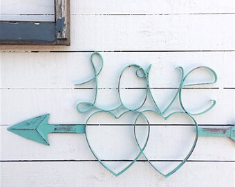 Love Sign, Wall Hanging, Shabby Chic White, Vintage Style Sign, I Love You, Wedding Sign