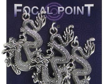 Asian Dragons three charms silver color