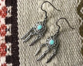 RICHARME Small Silver Turquoise Enamel Dream Catcher Earrings