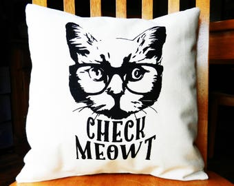 "Cat Pillow Cover, Cat Wearing Glasses Pillow, Decorative Cat Pillow, Check Meowt, fits 14"" insert (insert not included)"