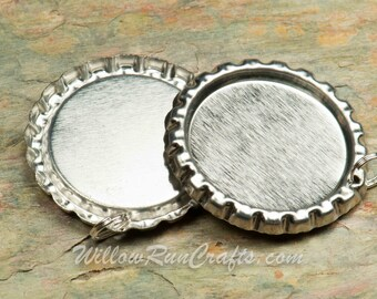 100 Silver Flattened Bottle Caps, Hole drilled with split jump ring attached