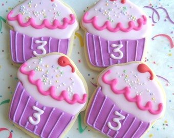 Pinkalicious Cupcakes - Cupcake Cookie Favors - Cupcake Decorated Cookies - Cupcake Cookies - 1 dozen