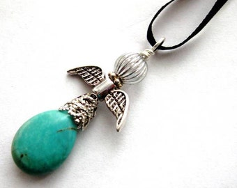 Blue Angel Ornament. Christmas Fairy, Pendant or Rear View Mirror Charm