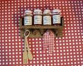 Dollhouse kitchen shelf, dollhouse jars, jam jars, kitchen shelf, kitchen foods, dark oak shelf. Twelfth scale dollhouse miniature