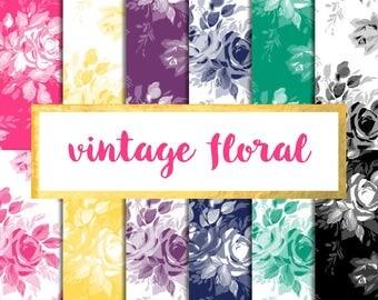 Vintage Floral Digital Paper Pack (Instant Download)