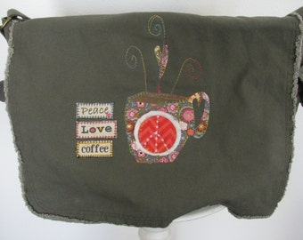 Messenger Bag, Appliqued Canvas Messenger Bag, Drab Green Messenger Bag, School Book Bag, Diaper Bag, Coffee Theme, Gift for Coffee Lover