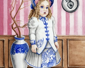 Blue Willow Bru Art Print - Doll Painted with Blue Willow Motif Victorian Dress and China Vase