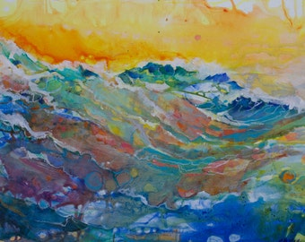 Original Contemporary Abstract Wave Painting by Marty Husted