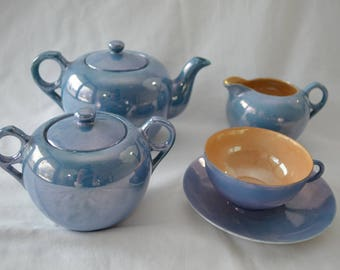 Vintage LUSTREWARE Japan Tea Set blue made in JAPAN 1950's