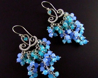 25OFF Chalcedony and Jade Cluster Waterfall Earrings, Long Ornate Blue Earrings