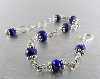 25OFF Lapis Lazuli with Sterling Silver Bracelet