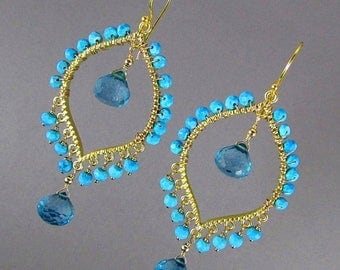 25% Off Blue Quartz With Turquoise Gold Bohemian Style Earrings