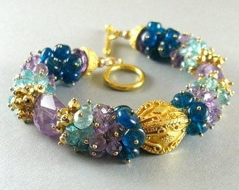 25 % OFF Amethyst and Apatite Gold Filled Wire Wrapped Bracelet