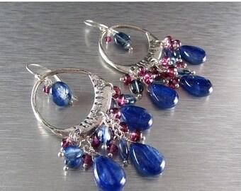 25 % OFF Kyanite and Garnet Sterling Silver Artisan Chandelier Cluster Earrings