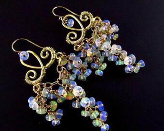 25 % OFF Ethiopian Welo Opal Gold Filled Cluster Ornate Gemstone Chandelier Earrings