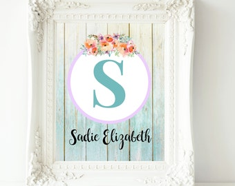 Baby girl nursery wall art teal lilac coral nursery decor nursery prints personalized baby custom name print nursery art personalized gift