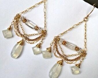30% SALE Moonstone Chandelier Earrings 14kt Gold Filled Chain Chandelier Earrings Wire Wrap Moonstone Wedding Earrings