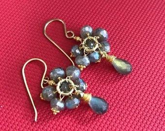 SPRING SALE Labradorite Cluster Earrings 14kt Gold Fill Wire Wrapped Petite Labradorite Cluster Wedding Earring Bridesmaid Grey Earrings Eve
