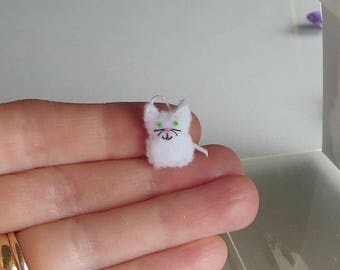White Cat micro miniature felt stuffed animal plush toy - collectible and dollhouse toy