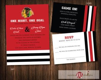 Chicago Blackhawks Hockey Wedding Invitations Hockey