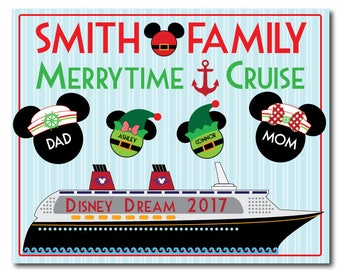 HANDMADE Disney Inspired 8 x 10 Nautical Christmas Family Magnet with Ship for Cruise Door