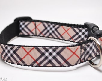 Beige Red Plaid Dog Collar / Buckle or Martingale / Crosshatch Plaid