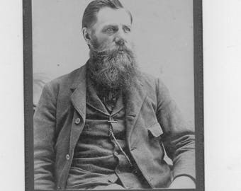 1800s vintage cabinet photo. of a man with a long beard