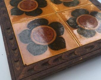 Spanish Tile Trivet in Carved Wooden Frame Mod Retro Flowers