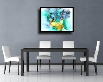 Large Abstract Painting Giclee Print Abstract Wall Art Modern Painting Contemporary Minimalist Meditation Zen Colorful Painting Blue Gray