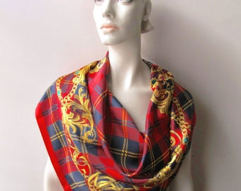 vintage fashion scarf 34 inches classic red navy plaid gold chain made in italy
