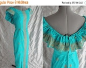 "ON SALE 70s Dress //  Vintage 1970's Turquoise and Gold Hawaiian Dress by Malihini Designer Collection Size S 26"" waist"