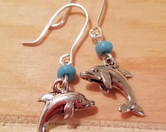 Beaded Dolphin Earrings